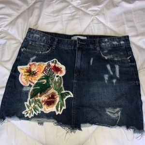 Zara Denim Skirt with appliqué